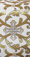 """Парча """"Кованый крест"""" (белая/золото с серебром, с синим)"""