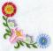 """Мастерская """"Православное узорье"""", вышивка: Стилизованный венгерский узор из тюльпанов и ярких цветов с круглыми соцветиями, вышитый по углу изделия."""