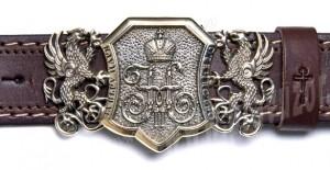 Пояс мужской - Царский вензель (Государя Императора Николая II) с грифонами
