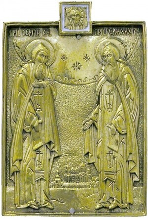 Икона на металле: Преп. Сергий и Герман Валаамские