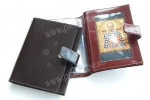 Бумажник из натуральной кожи с кнопкой