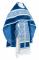 """Русское архиерейское облачение - парча П """"Альфа и Омега"""" (синее-серебро) с бархатными вставками,, обиходная отделка"""