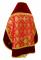 """Русское архиерейское облачение - парча П """"Новая корона"""" (красное-золото) с бархатными вставками вид сзади, обиходная отделка"""