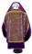 """Русское архиерейское облачение - парча П """"Феофания"""" ПГ1 (фиолетовое-золото) вид сзади, обиходная отделка (с бархатными вставками и вышитой иконой)"""
