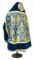 """Русское архиерейское облачение - парча ПГ5 """"Тарс"""" (синее-золото) вид сзади, соборная отделка"""