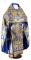 """Русское архиерейское облачение - парча ПГ5 """"Елеонский букет"""" (синее-золото), соборная отделка"""