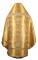 Русское архиерейское облачение - парча ПГ6 (жёлтое-золото) вариант 1 вид сзади, соборная отделка