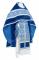 """Русское архиерейское облачение - шёлк Ш3 """"Альфа-и-Омега"""" (синее-серебро) с бархатными вставками,, обиходная отделка"""