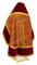 """Русское архиерейское облачение - шёлк Ш3 """"Альфа-и-Омега"""" (бордо-золото) с бархатными вставками, вид сзади, обиходная отделка"""