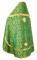 """Русское архиерейское облачение - шёлк Ш3 """"Венец"""" (зелёное-золото) вид сзади, обиходная отделка"""