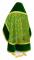 """Русское архиерейское облачение - шёлк Ш3 """"Альфа-и-Омега"""" (зелёное-золото) с бархатными вставками, вид сзади, обиходная отделка"""