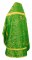 """Русское архиерейское облачение - шёлк Ш3 """"Вознесение"""" (зелёное-золото) вид сзади, обиходная отделка"""
