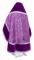 """Русское архиерейское облачение - шёлк Ш3 """"Альфа-и-Омега"""" (фиолетовое-серебро) с бархатными вставками, вид сзади, обиходная отделка"""