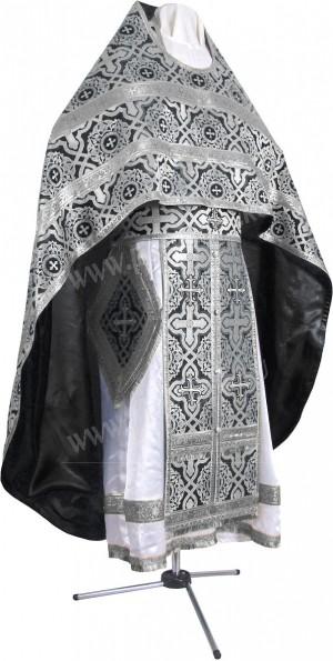 Иерейское русское облачение из шёлка Ш3 (чёрный/серебро)