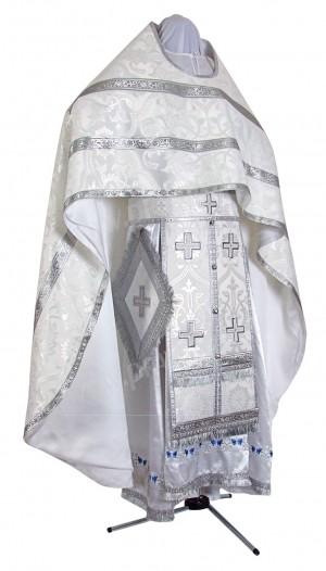 Иерейское русское облачение из шёлка Ш4 (белый/серебро)