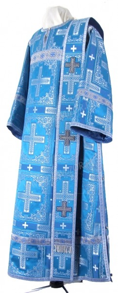Дьяконское облачение из шёлка Ш3 (синий/серебро)