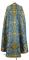 """Греческое облачение священника - шёлк Ш4 """"Карпаты"""" (синее-золото) (вид сзади), обиходная отделка"""