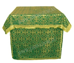 Облачение на престол из парчи ПГ3 (зелёный/золото)