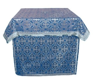 Облачение на престол из парчи ПГ5 (синий/серебро)