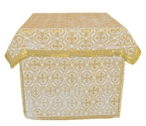 Облачение на престол из парчи ПГ5 (белый/золото)