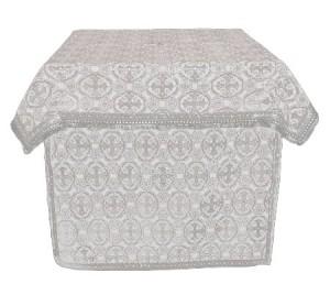 Облачение на престол из шёлка Ш2 (белый/серебро)