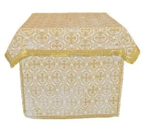 Облачение на жертвенник из парчи ПГ2 (белый/золото)