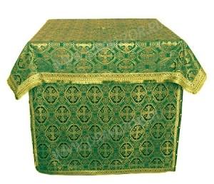 Облачение на жертвенник из парчи ПГ4 (зелёный/золото)