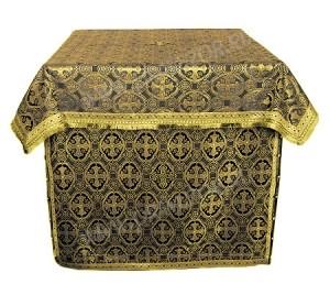 Облачение на жертвенник из шёлка Ш2 (чёрный/золото)