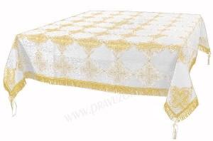 Пелена на престол/жертвенник из парчи ПГ5 (белый/золото)