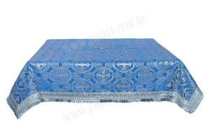 Пелена на престол/жертвенник из шёлка Ш2 (синий/серебро)