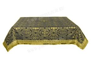 Пелена на престол/жертвенник из шёлка Ш2 (чёрный/золото)