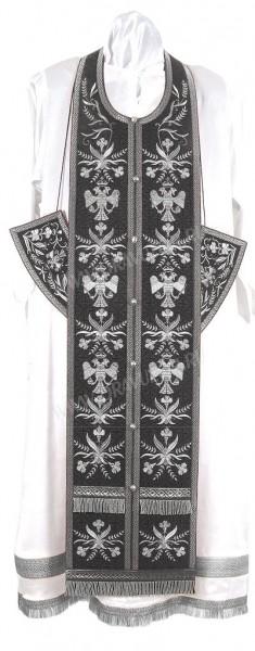 """Вышитый требный комплект """"Византийский орёл"""" (чёрный/серебро)"""