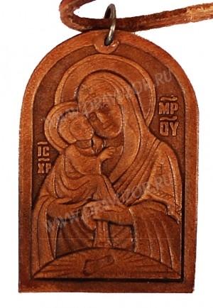 Медальон кожаный образ Почаевской Богоматери