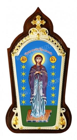 """Икона настольная  в серебре - Богородица """"Луганская""""."""