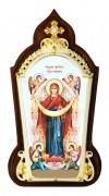 Икона настольная латкнная в серебре - Покров Пресвятой Богородицы.